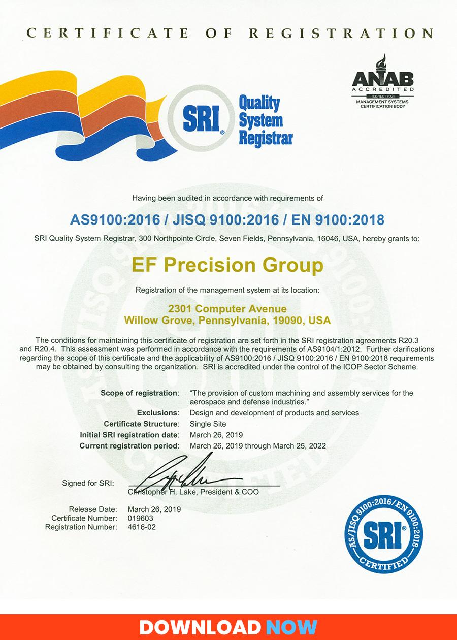 AS9100D-2016 Certificate of Registration
