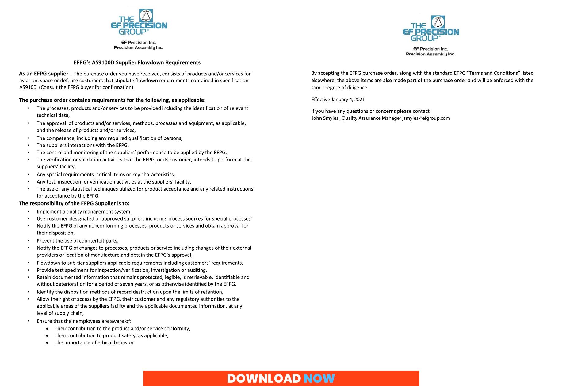 AS9100D-2016 Supplier Flowdown Requirements