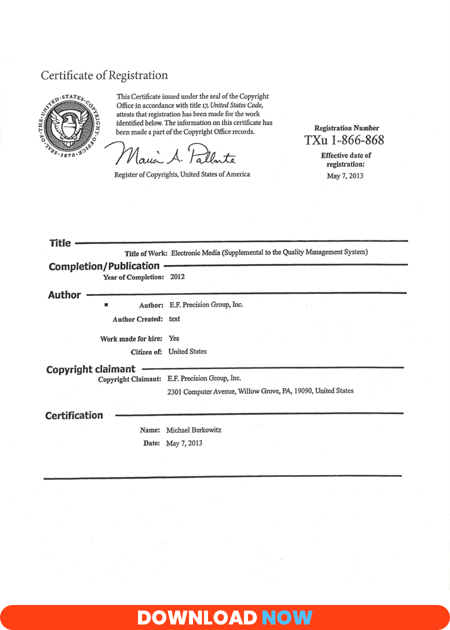Certificate of Copyright Registration Electronic Media